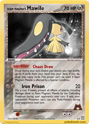 Team Magma's Mawile, a fake card